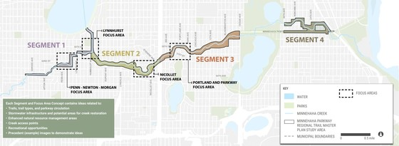 A map overview and key of the Minnehaha Parkway Regional Trail Master Plan preferred concepts