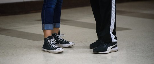 Two pairs of feet at a dance class at Sibley Recreation Center