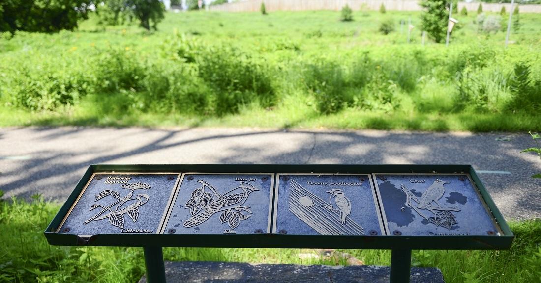 Interpretive sign depicting local birds at North Mississippi Regional Park