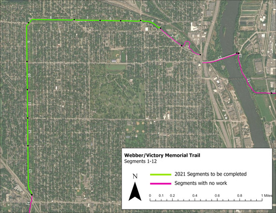 Map showing Victory Memorial Drive and Webber Parkway trail segments to be resurfaced