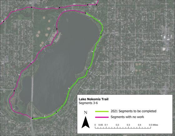 Map showing trail segment at Lake Nokomis to be repaired