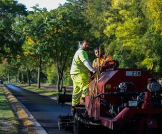 Crews repairing and resurfacing regional bike trail