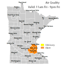 AQI alert map for MN
