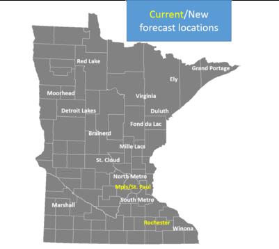 Forecast locations across MN