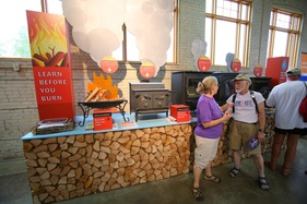 Eco Experience air quality display featuring wood burning stoves