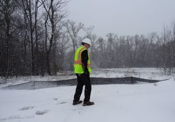 Winter inspection of construction site