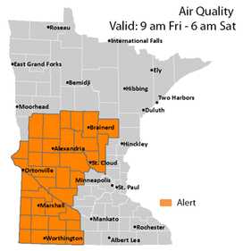 Map of Minnesota showing an example of an air quality alert day