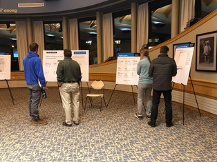 Participants in the Bemidji public meeting browsing informational posters