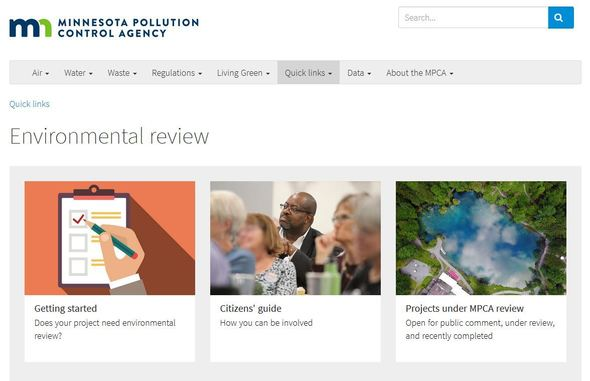 Environmental review webpage screenshot