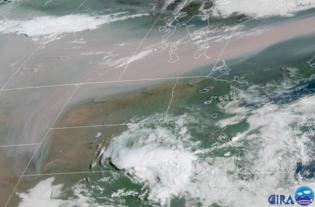 Satellite image of smoke