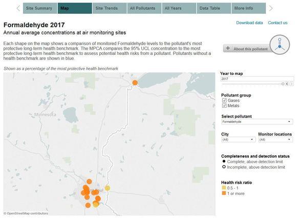 Screenshot of air toxics data explorer