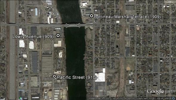 Map of monitoring locations in North and Northeast Minneapolis