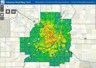 Screenshot of extreme heat mapping tool