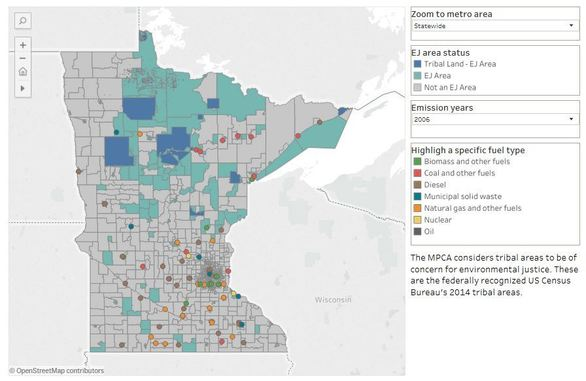Map of Minnesota with areas of concern for environmental justice and power plants
