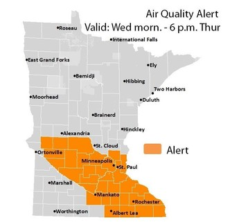 Air quality alert map of Minnesota