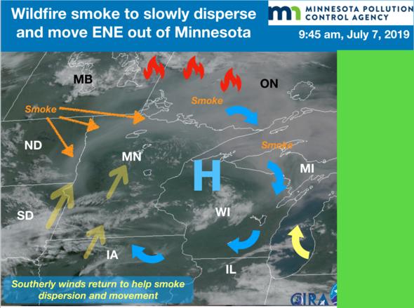 Weather patterns bringing wildfire smoke to MN