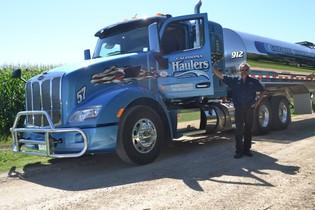 Milk hauling truck