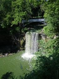 Minneopa Falls near Mankato, Minn., runs green from algae