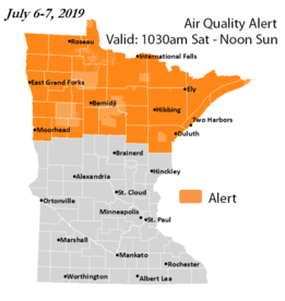 Air quality alert map of MN