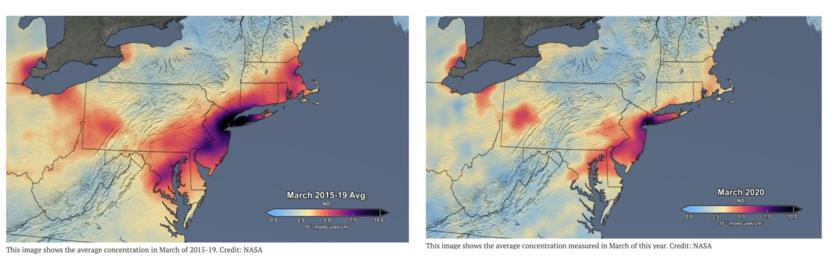 Map of satellite images of air pollution over the USA