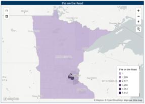 Map of EV registrations in Minnesota