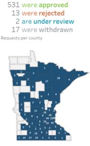 Map of Minnesota regulatory flexibility requests