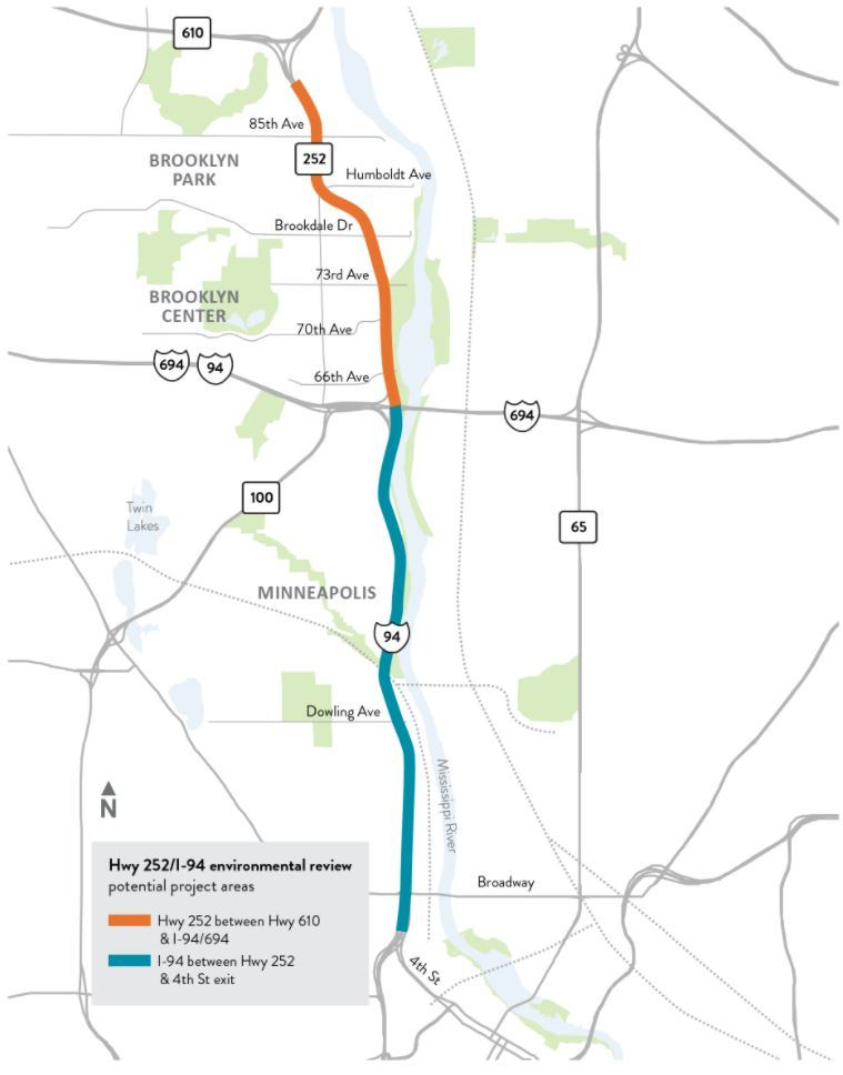 Map of Hwy 252 and I-94 project area