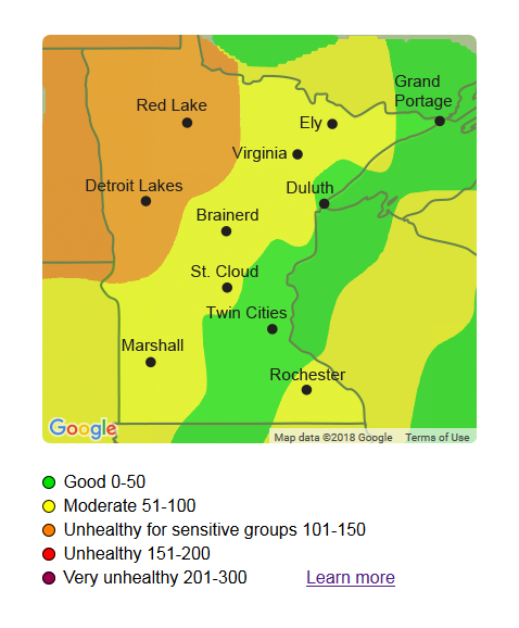 Map showing air quality index in Minnesota