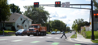 Pedestrian crossing with HAWK system