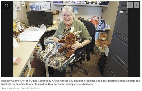 Bev Shogren and Stuffed Animal donations
