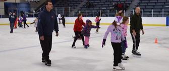 Group of ice skaters at Aldrich Arena
