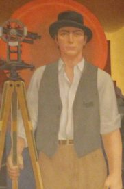 Surveyor depicted in original courthouse painting