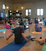 Yoga sculpt class participants
