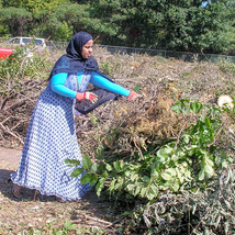 woman at yard waste site