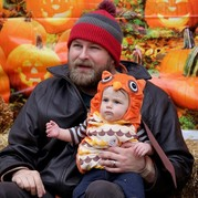 Dad and child at Gibbs Farm Halloween