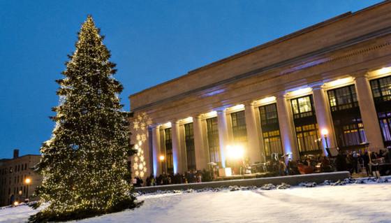 Tree lighting outside at Union Depot