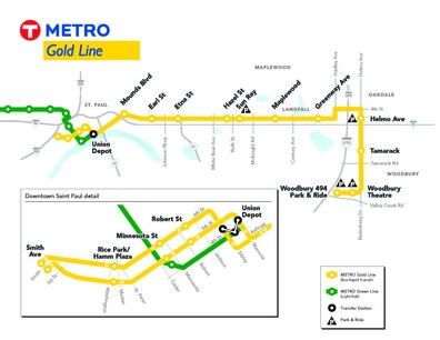 Gold Line route map