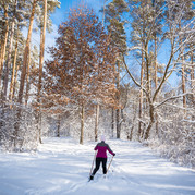 resident cross country skiing on trail