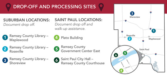 Map of dropoff and processing locations.