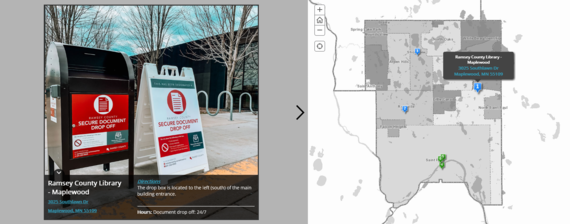 Screenshot of interactive online map showing Maplewood Library's dropbox location.
