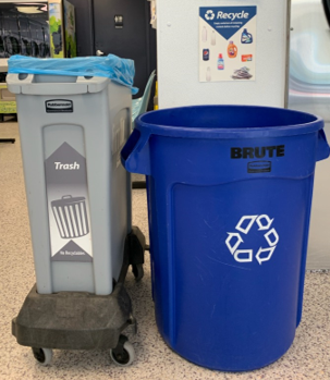 Indoor recycling and trash bins