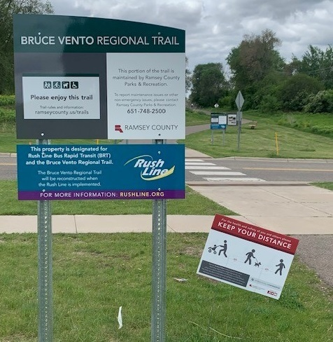 New sign about Rush Line BRT on the Bruce Vento Regional Trail