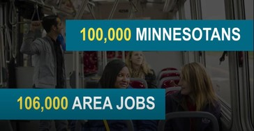 Image of bus riders that with text indicating that the route will serves 100,000 residents and 100,000 jobs
