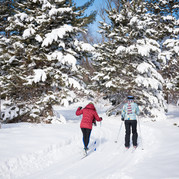 Two residents cross-country skiing