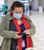 Resident taking COVID-19 saliva test