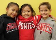 kindergarten students in pony sweatshirts