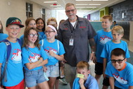 custodian with students