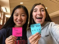 students with post-it notes of kindness