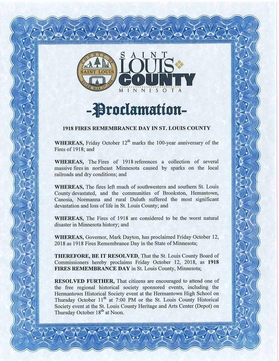 1918 fire anniversary proclamation