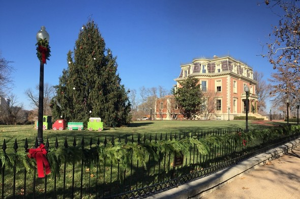 Christmas tree outside governor's mansion